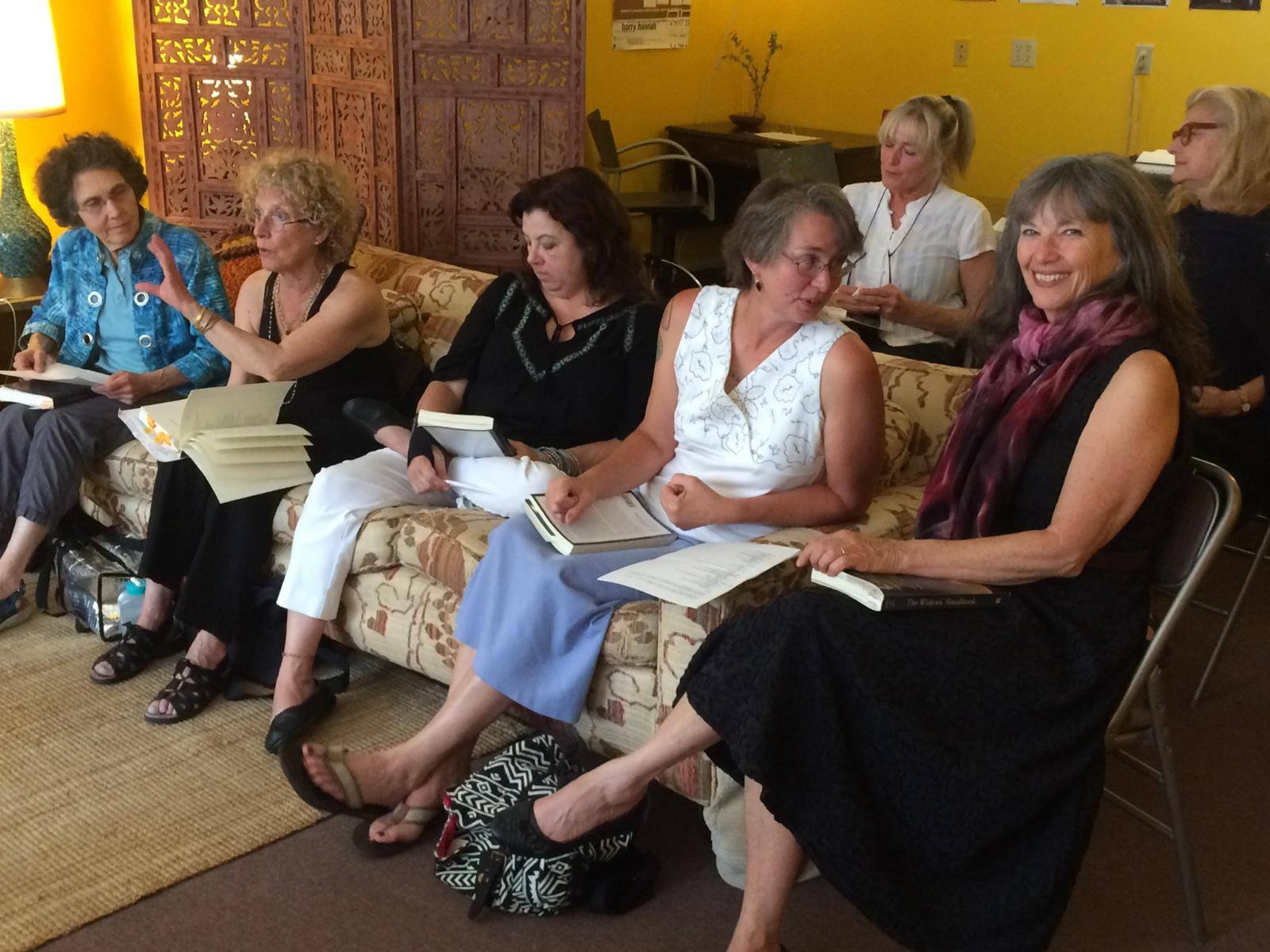 On couch: Susanne Braham, Jacqueline Lapidus, Tammi Truax, Carolyn Stephens, Patricia Savage; back row, Christine Silverstein and Donna Hilbert